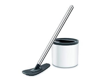 Nicol 4223226 inodoro de Champ Blanco Cepillo de Inodoro de limpiaparabrisas sin cerdas con de silicona Pad - Acero inoxidable: Amazon.es: Hogar