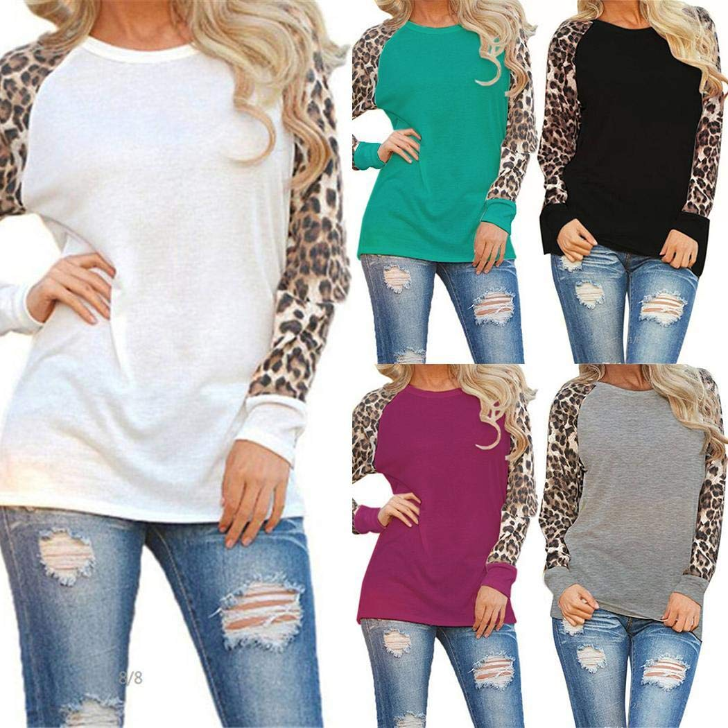 UpBeauty T-Shirt Women Casual O-Neck Leopard Patchwork Knits /& Tees
