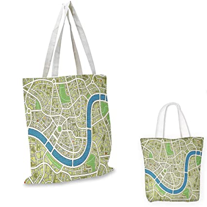 af075307b0e Amazon.com: Map fashion shopping tote bag Street Map without Names ...