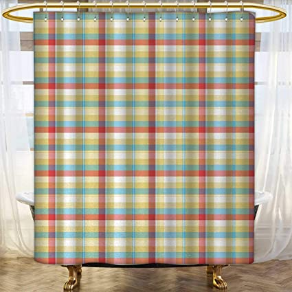 Anhounine Plaid Fabric Shower Curtains Geometric Composition With Squares And Rectangles Colorful Shapes Diagonal Lines