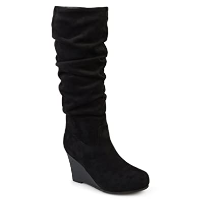 b198c456b76 Journee Collection Womens Regular and Wide Calf Slouchy Mid-Calf Wedge  Boots Black, 7.5