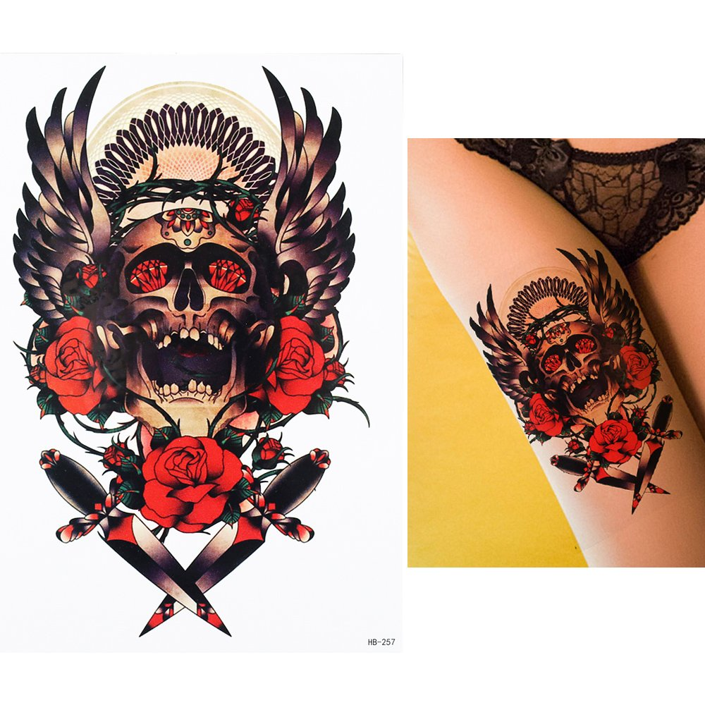 Rocker Tattoo brazo Brazo tatuaje pegatinas rosas Calavera hb257 ...