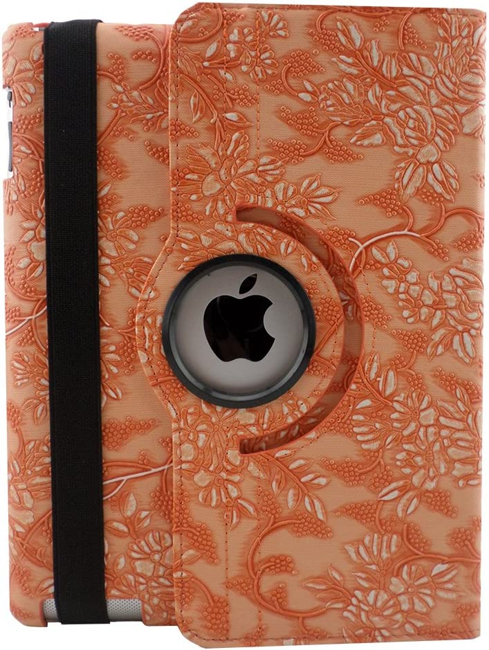 TCD - Apple iPad Air 1, 1st Generation Floral Embossed Flower Rotating Leather Kickstand Case Cover with Auto Wake and Sleep Feature - Orange