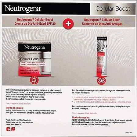 Neutrogena Cellular Boost Anti-edad, Pack Crema de Día SPF20 + Contorno de Ojos Anti-arrugas Rejuvenecedor
