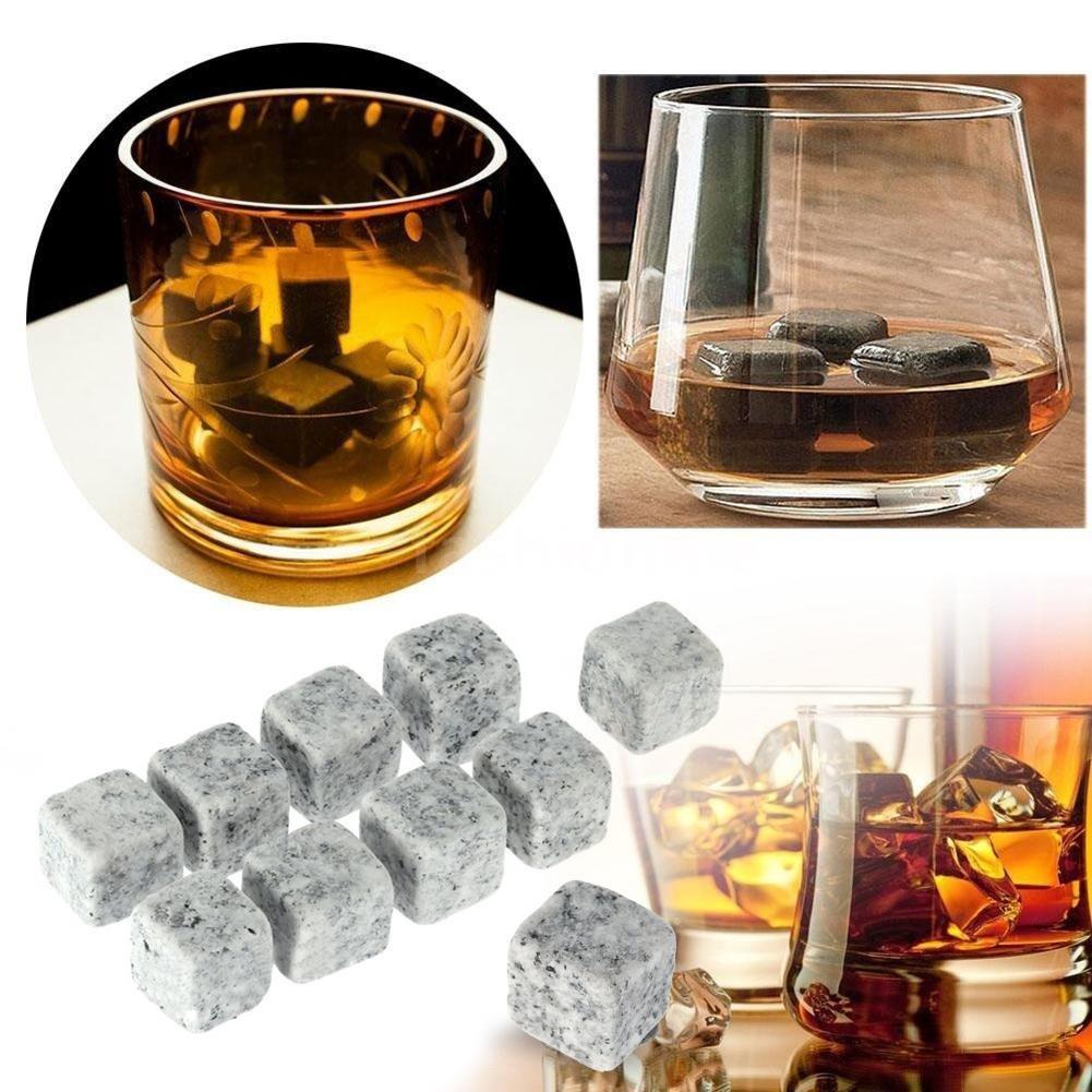 Ausomely Pierres /à Whisky Gla/çons St/éatite R/éutilisables Refroidisseurs de Boissons Bi/ère Whisky 9pcs Blanc et Gris Clair