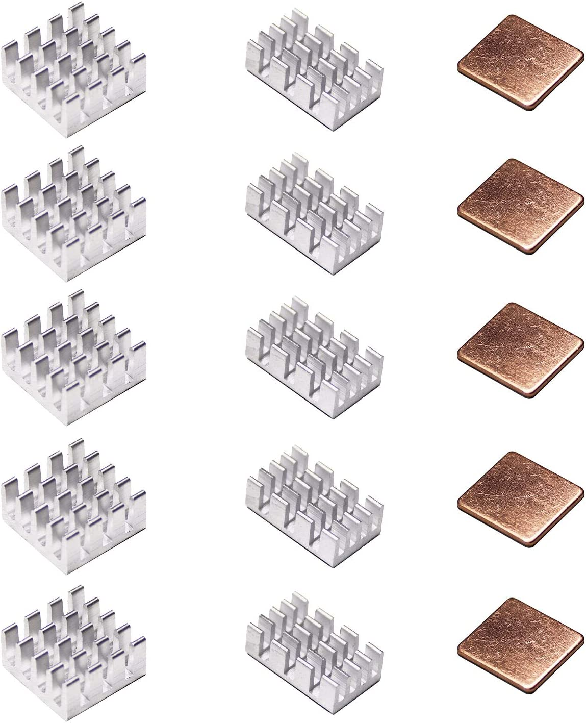 Pastall Raspberry Pi Heat Sink Cooler and Copper Heatsink for Raspberry Pi B B+ 2/3/4, Heatsink Copper Pad Shims with Adhesive Tape (5copper+10aluminum)