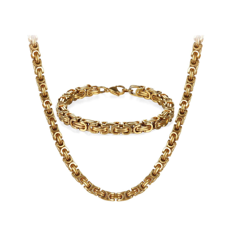 Trendsmax Herren Halskette Armband Schmuck Set Kette Gold Silber