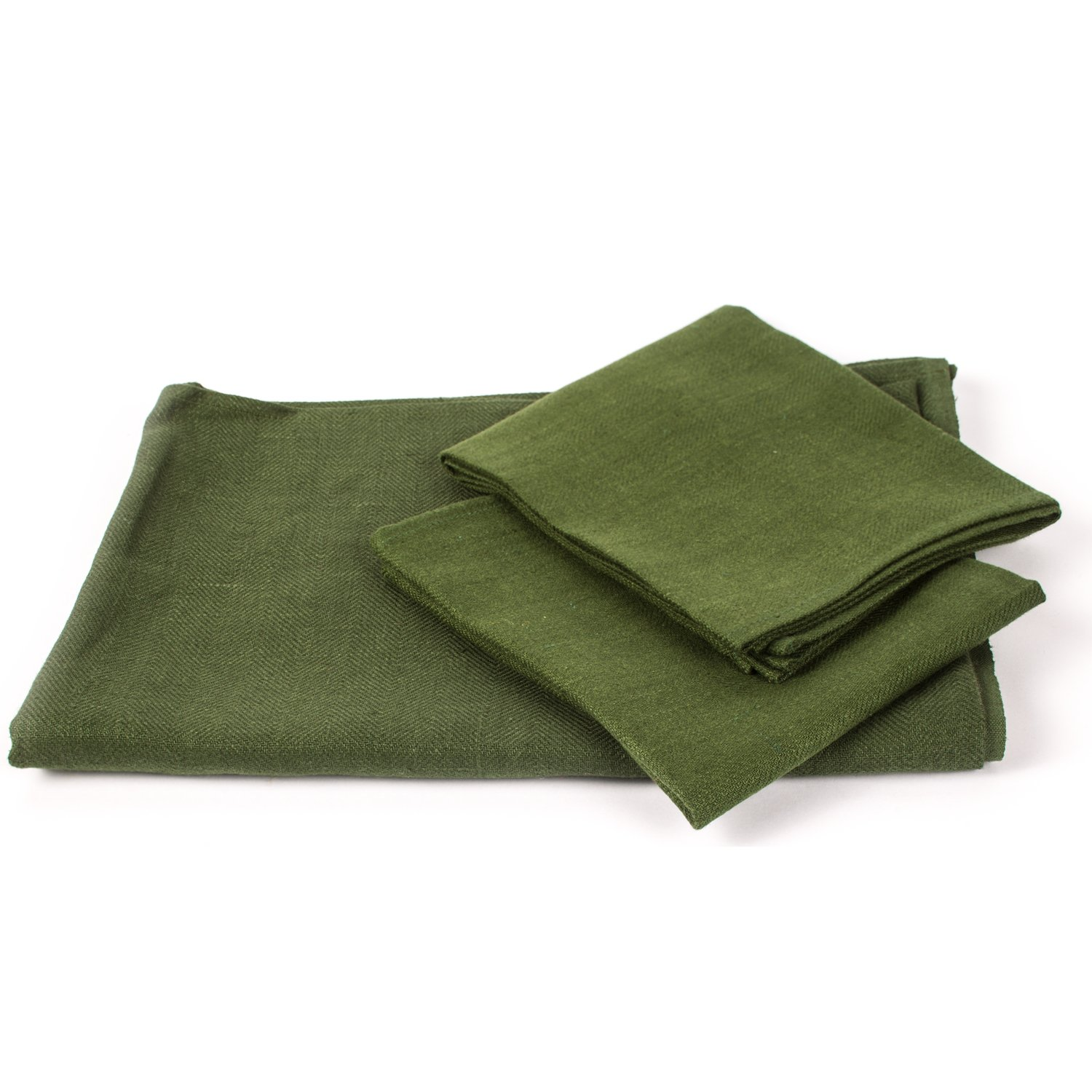 Dark Green Linen Towels Set Lara