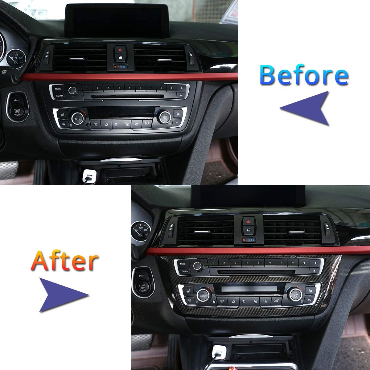 YUECHI Carbon Fiber Style ABS Plastic Center Decoration Frame Trim for BMW 3 4 Series GT F30 F32 F34 2013-2018