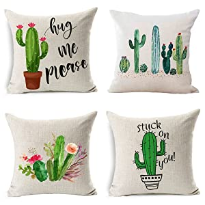 PSDWETS Home Decor Summer Style Cactus Hug Me Please Pillow Covers Set of 4 Cotton Linen Throw Pillow Case Cushion Cover 18 X 18,Funny Gifts