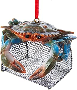 Kurt Adler Blue Crab with Wire Cage Ornament