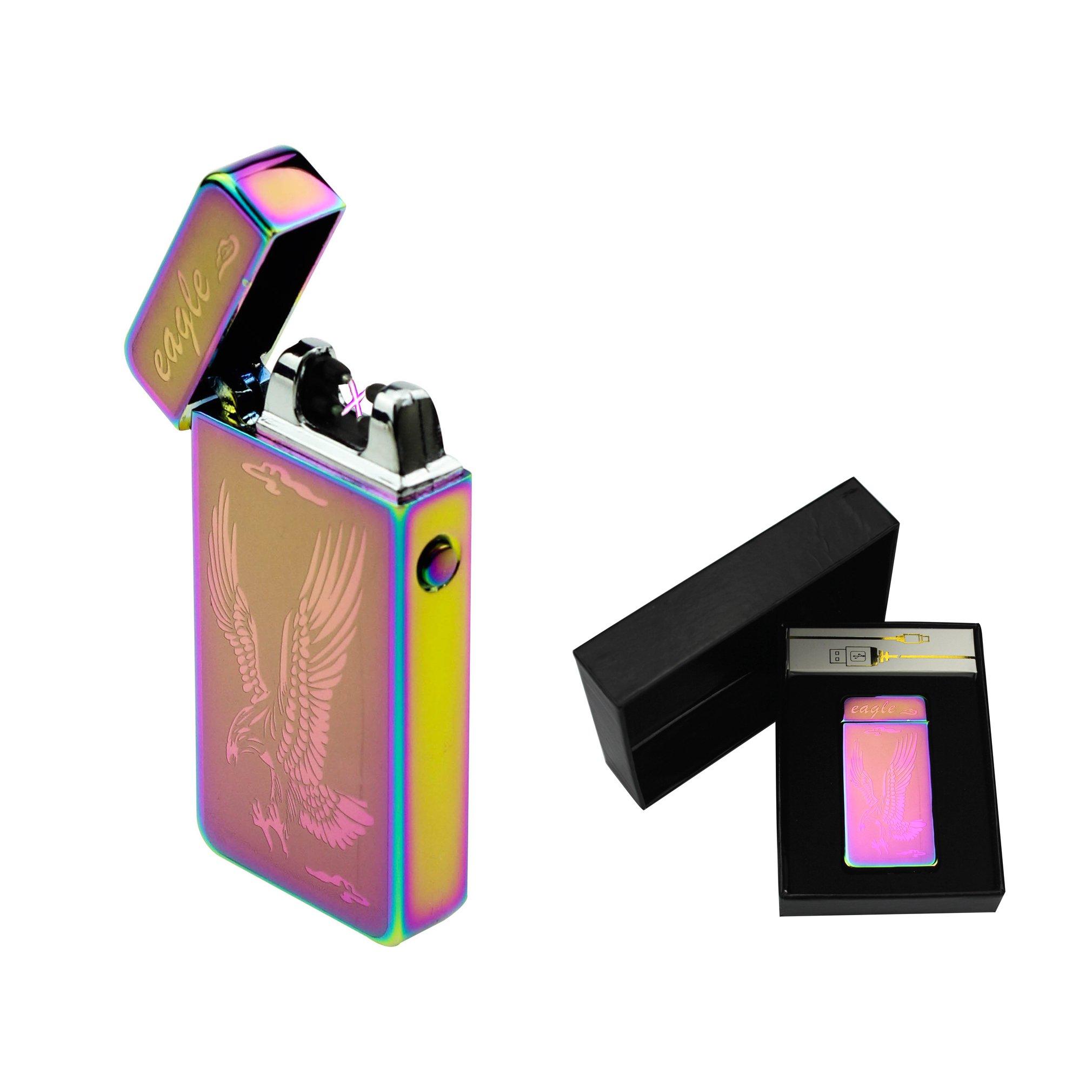 Sunshine USB Lighter Dual Arcs Flameless Windproof Wider Arcs Plasma Beam Dual Arc Lighter USB cable included (Rainbow Eagle) by Sunshine (Image #1)