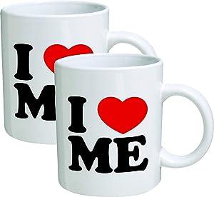 Willcallyou Pack of 2 I Love Me Red Heart 11 Ounces Funny White Coffee Mug