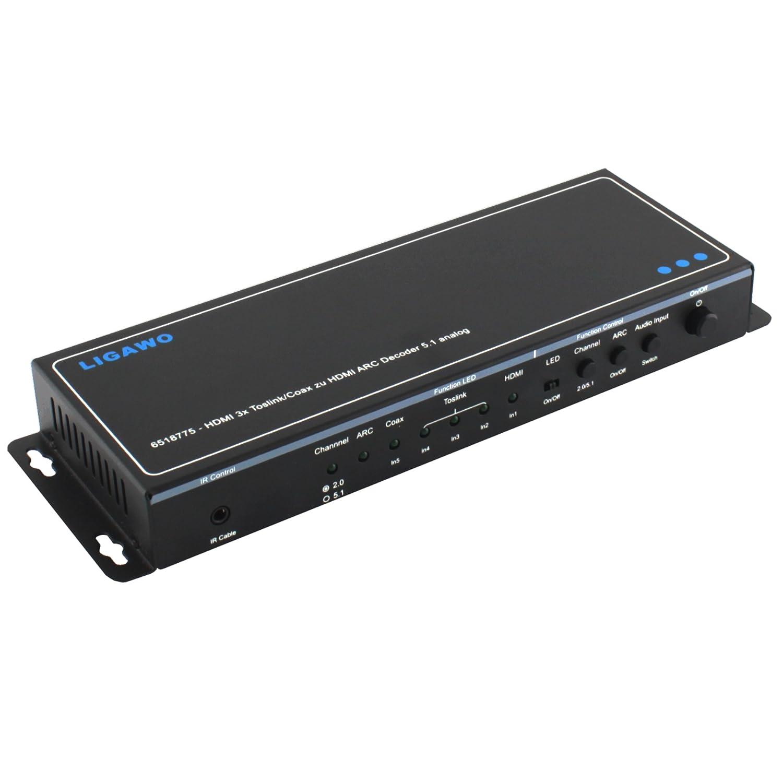 Ligawo Audio y HDMI ARC Extractor//incorporados a anal/ógico 2.0//5.1 HDMI ARC Negro SPDIF para Conector RCA 5.1//2.0
