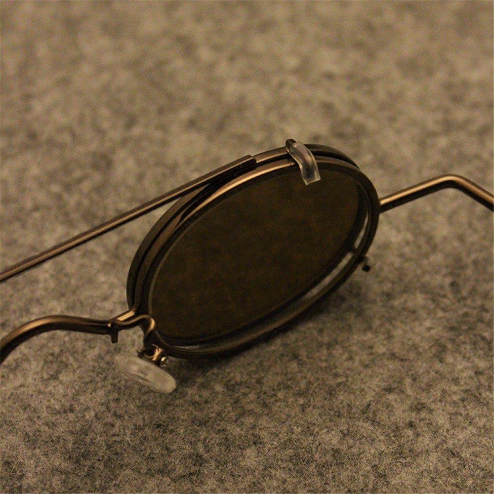LXKMTYJ Double-Layer-Clip-Art Zerlegen Brille Retro Männer Und Frauen Kleine Runden Rahmen Sonnenbrille, Bronze Gerahmte Kaffee Stück