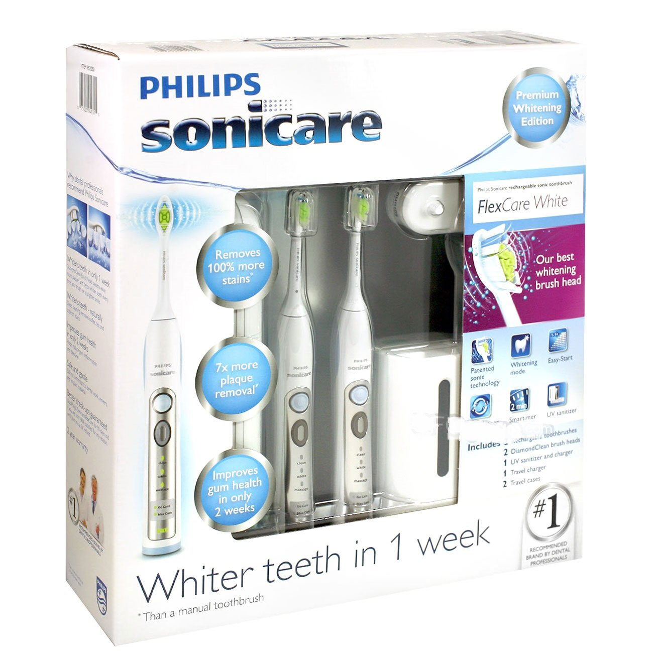 Philips Sonicare FlexCare White Premium Whitening Edition 2 Pack Bundle (2 FlexCare Whitening Edition Handles, 2 DiamondClean Brush Heads, 1 UV Sanitizer and Charger, 1 Compact Travel Charger, 2 Hygenic Travel Caps, 2 Hard Travel Cases) by Philips (Image #6)