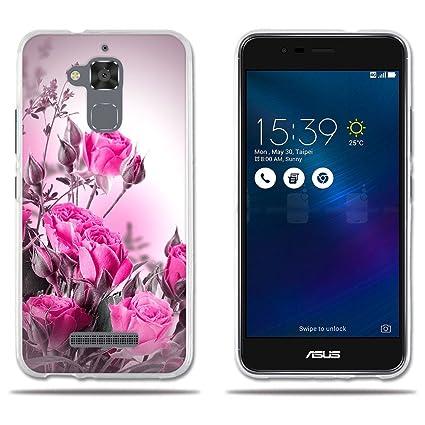 Funda ASUS Zenfone 3 MAX ZC520TL Carcasa Fino de Cristal Claro,Dibujo Rosa Fantasía Rojo Claro,[Resiste A los Arañazos][Protección Goma Carcasas para ...
