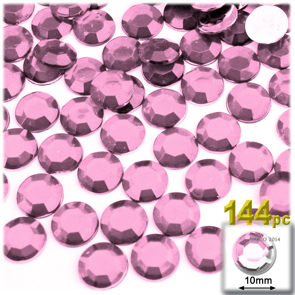 10mm Ruby Red The Crafts Outlet 144-Piece Flat Back Round Rhinestones