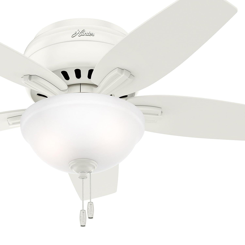 Hunter Fan 42in Low Profile Ceiling Fan in Fresh White with Clear Frosted Glass Light Kit, 5 Blade Renewed