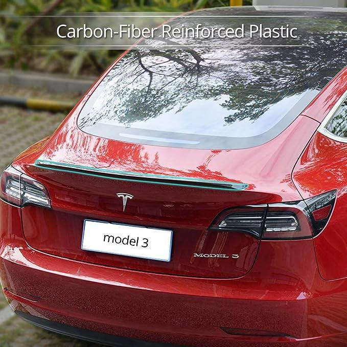 ZENIX Tesla Model 3 Rear Trunk Spoiler Wing Enhance Performance /& aerodynamic Glossy ABS Carbon Fiber Pattern one Piece