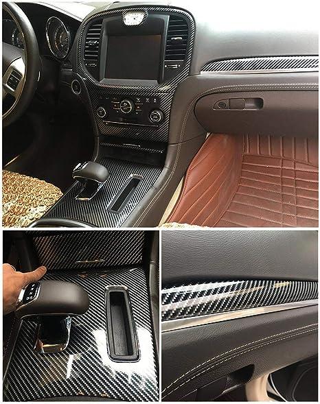FHG AUTO 30cmX300cm High Gloss in Fibra di Carbonio Nero Vinile Wrap Texture 6D Vinile Avvolgere Film Fai da Te