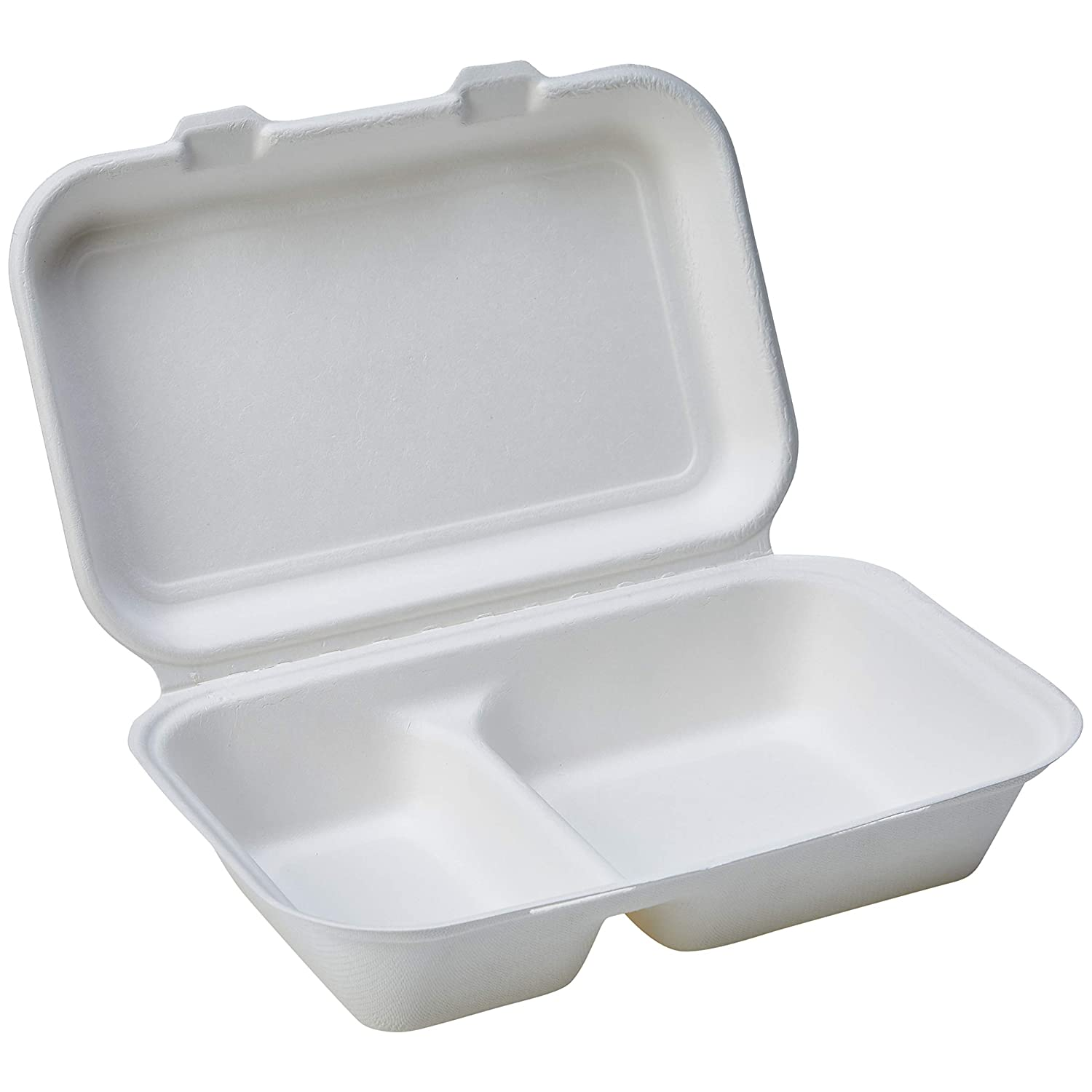 """AmazonBasics Compostable 2-Compartment Clamshell Hinged Food Container, 9"""" x 6"""" x 3"""", Pack of 125"""