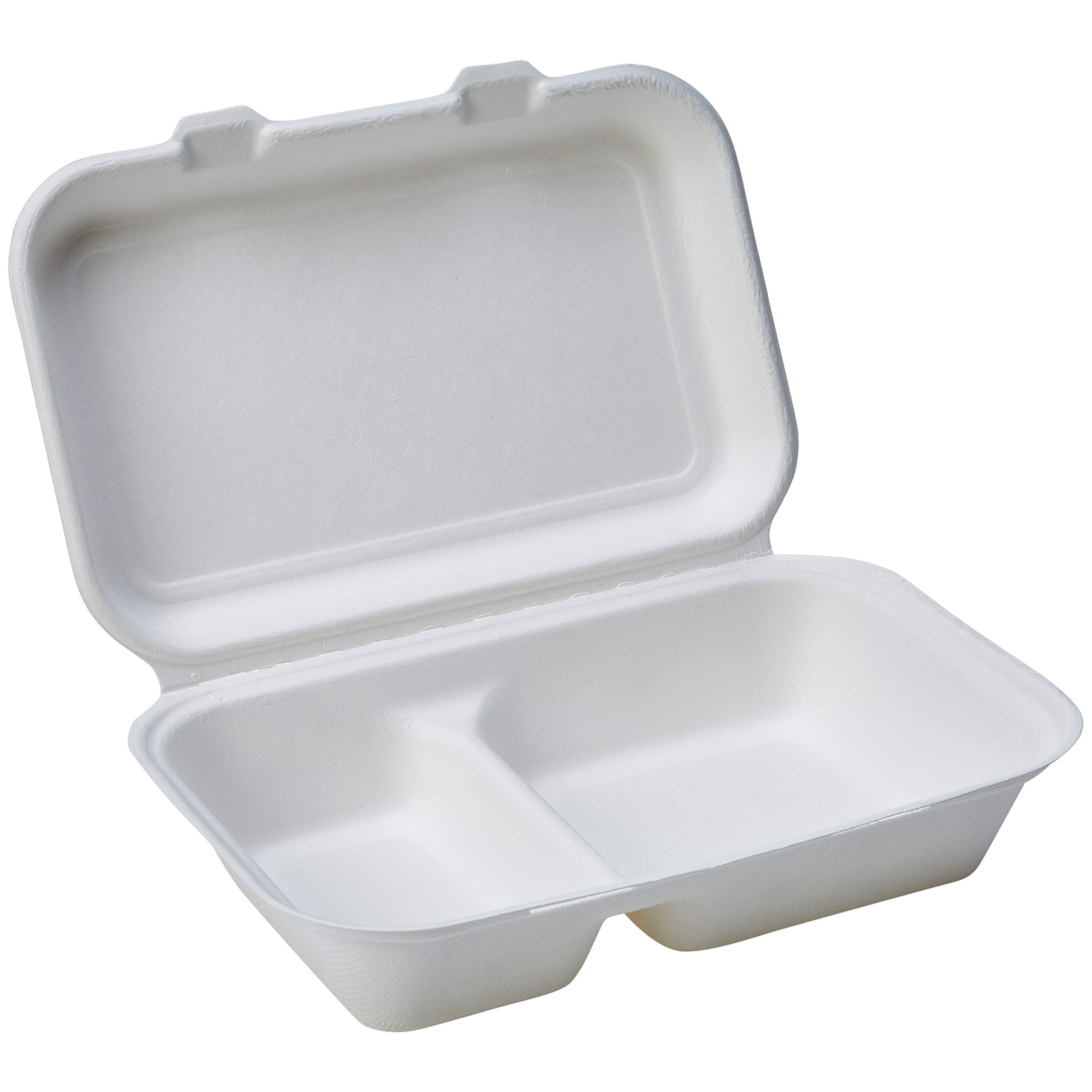 AmazonBasics Compostable Clamshell Hinged Food Container, 2-Compartment, 9.8 x 6.4 x 2.7 Inches, 250 Containers