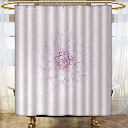 Dahlia Shower Curtains Mildew Resistant Ghastly Appearing Flower Close Up Sketch In Pale Purple