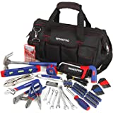 WORKPRO 156-piece Home Repairing Tool Set, Complete Daily Using Hand Tools in Wide Open Mouth Tool Bag