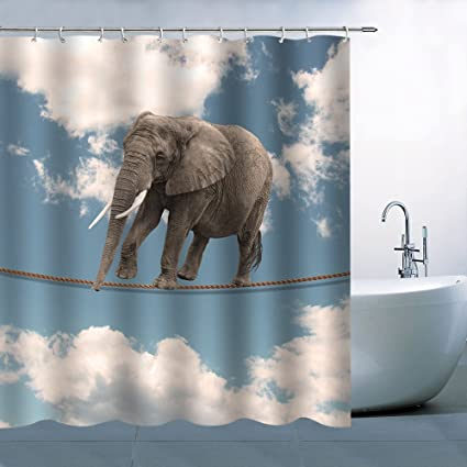 Animal Theme Elephant Walking On The Rope Beautiful Sky Personality Gray  Blue White Home Shower Curtain