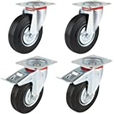Mvpower Swivel Caster Wheels, 4 Pack Heavy Duty Metal Caster 5 Inch Polyurethane Wheels No Noise Wheels with 360 Degree Top Plate Casters (2 with Brake 2 Fixed Plate) -Black