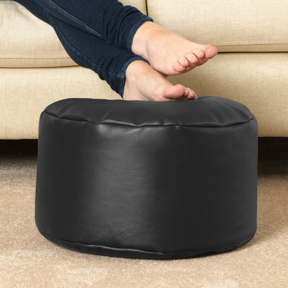Foot Stool Pouffe Living Room Footrest Bean Bags Bean Bag Bazaar Round Faux Leather Footstool