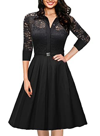 Amazon.com: OWIN Women&39s Vintage 1950s Style 3/4 Sleeve Black Lace ...