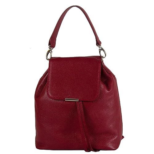 Complementos Mochila 6glam Bolso Amazon es Zapatos Burdeos Para Y Rojo Piel De Mujer 7q7w5rxd