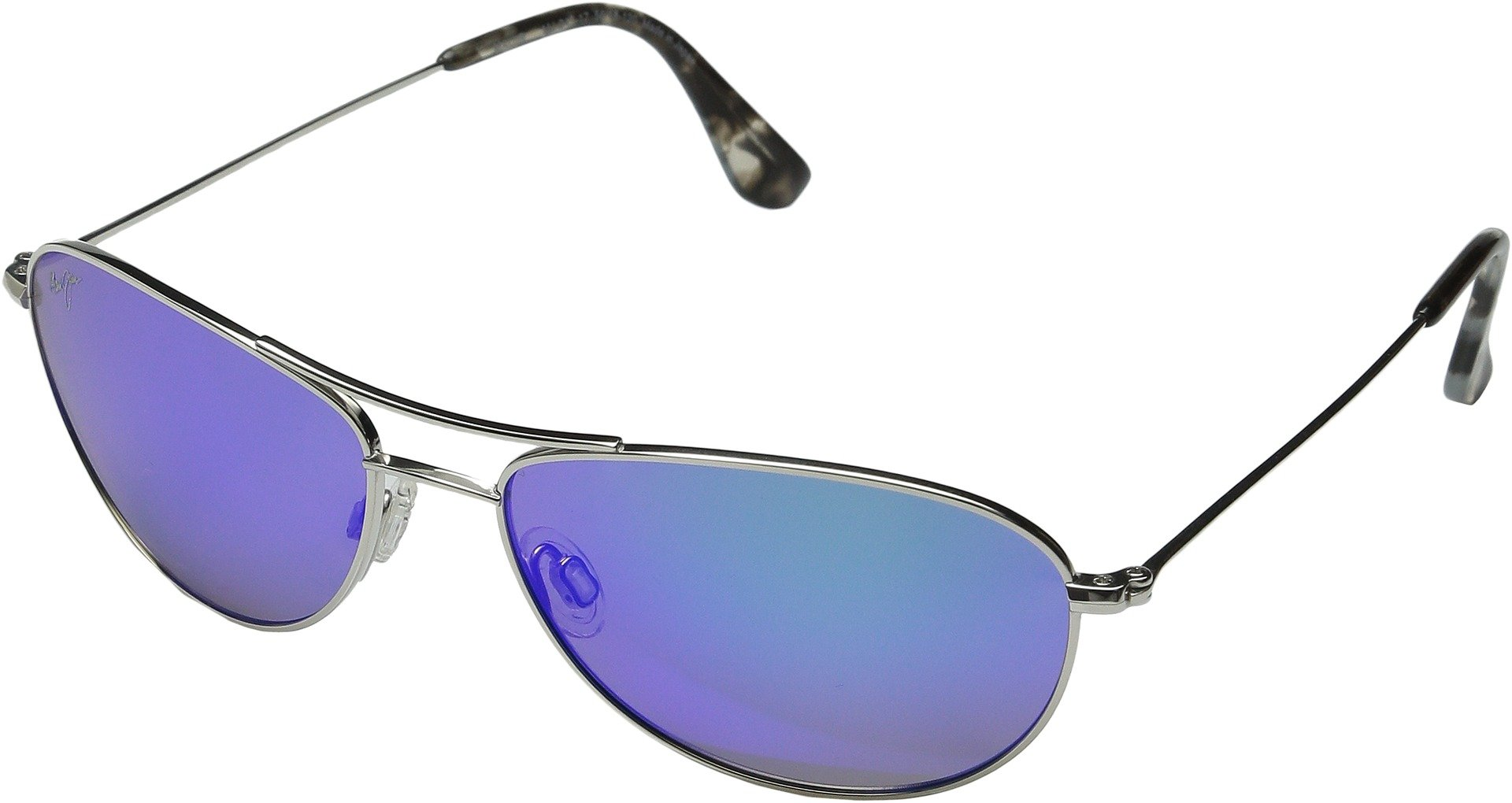 Maui Jim Baby Beach B245-17 | Sunglasses, Silver with Blue, with Patented PolarizedPlus2 Lens Technology