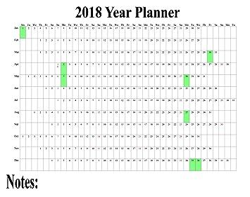 2018 maxi wall calendar poster staff holiday chart plan wall