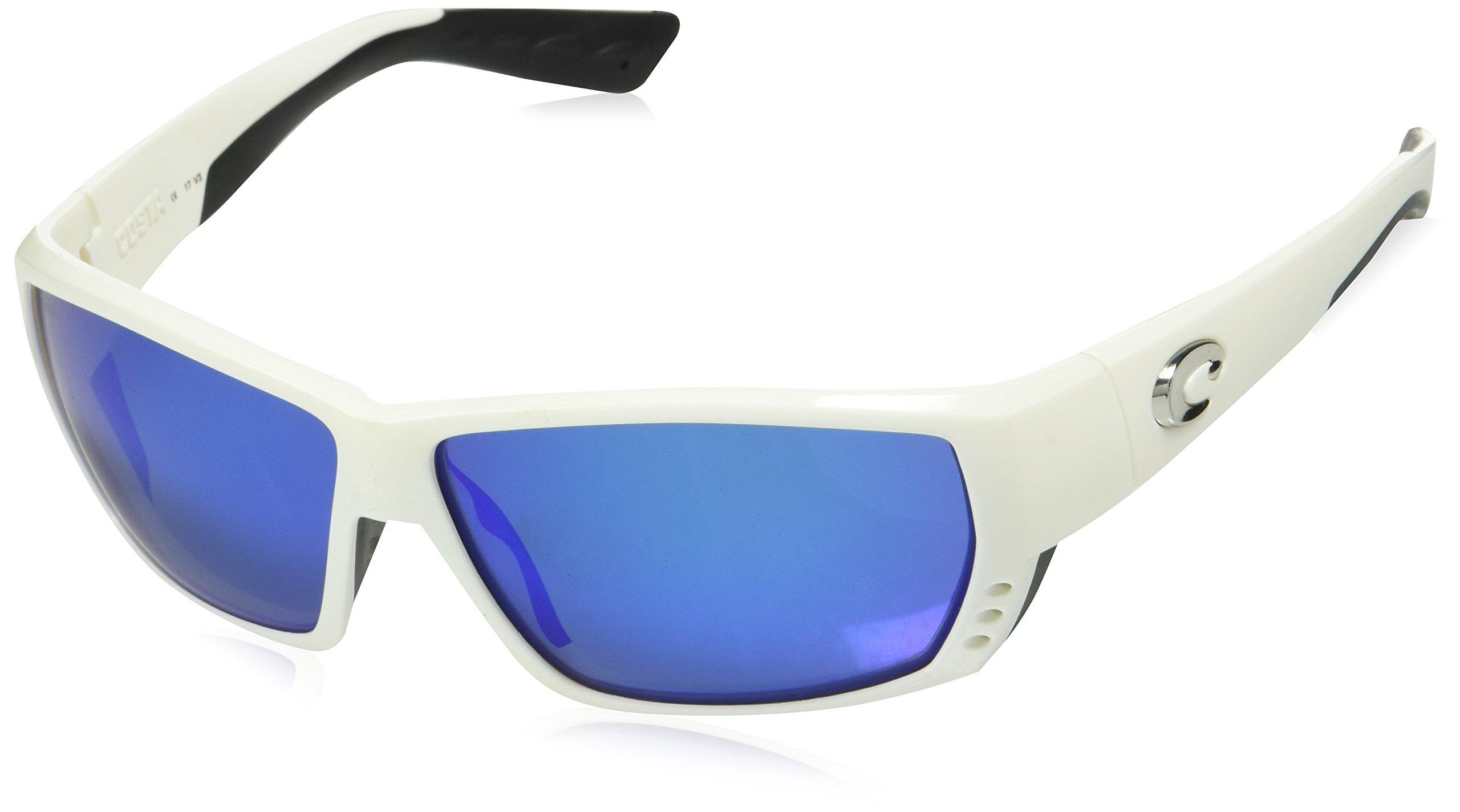 Costa Del Mar Tuna Alley Sunglasses, White, Blue Mirror 580 Glass Lens by Costa Del Mar