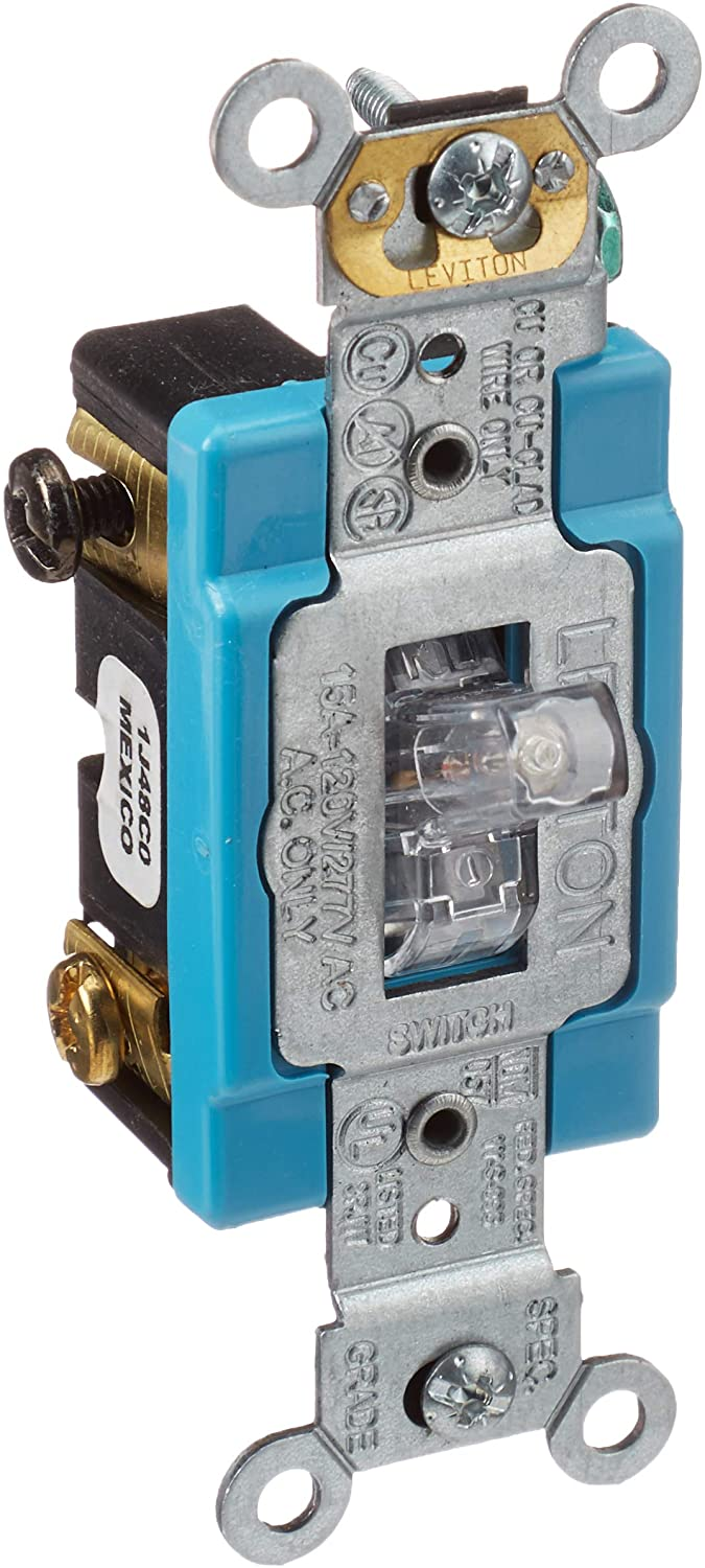 Leviton 1201-PLC 15 Amp, 120 Volt, Toggle Pilot Light, Illuminated ON, Req.  Neutral Single-Pole AC Quiet Switch, Industrial Grade, Self Grounding,  Clear - Wall Light Switches - Amazon.comAmazon.com