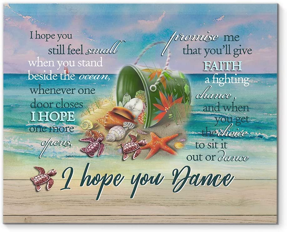 "DesDirect Store Ocean I Hope You Still Feel Small When You Stand Beside The Ocean I Hope You Dance - Canvas Art Wall Decor 1.5in Frame - Landscape Wall Art Home 24"" x 16"""