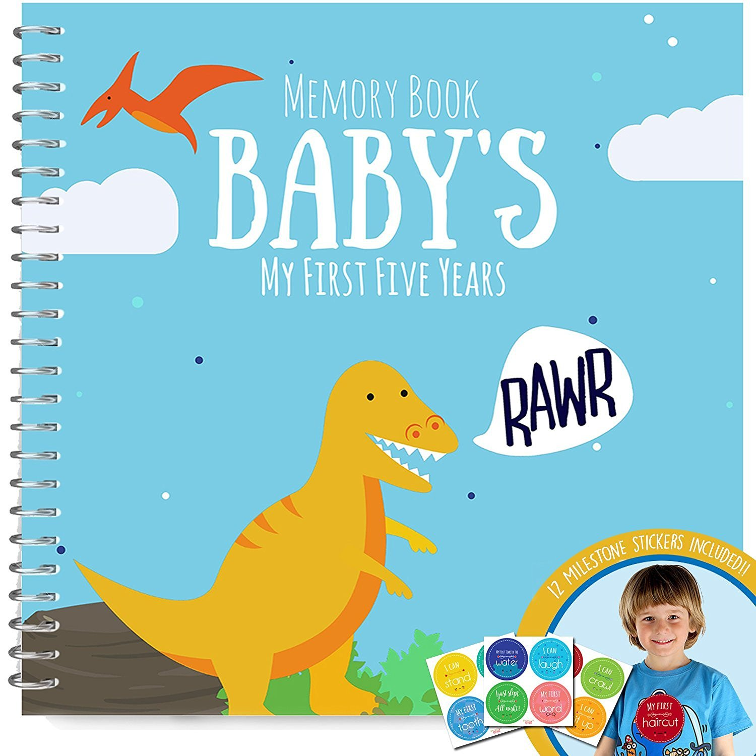 Dinosaur T-rex Edition Baby's First Five Years Memory Book With Stickers - Newborn Hard Cover Journal - Babies Personalized Keepsake Scrapbook - Baby 1st Year Milestone Photo Album Unconditional Rosie S5DINO