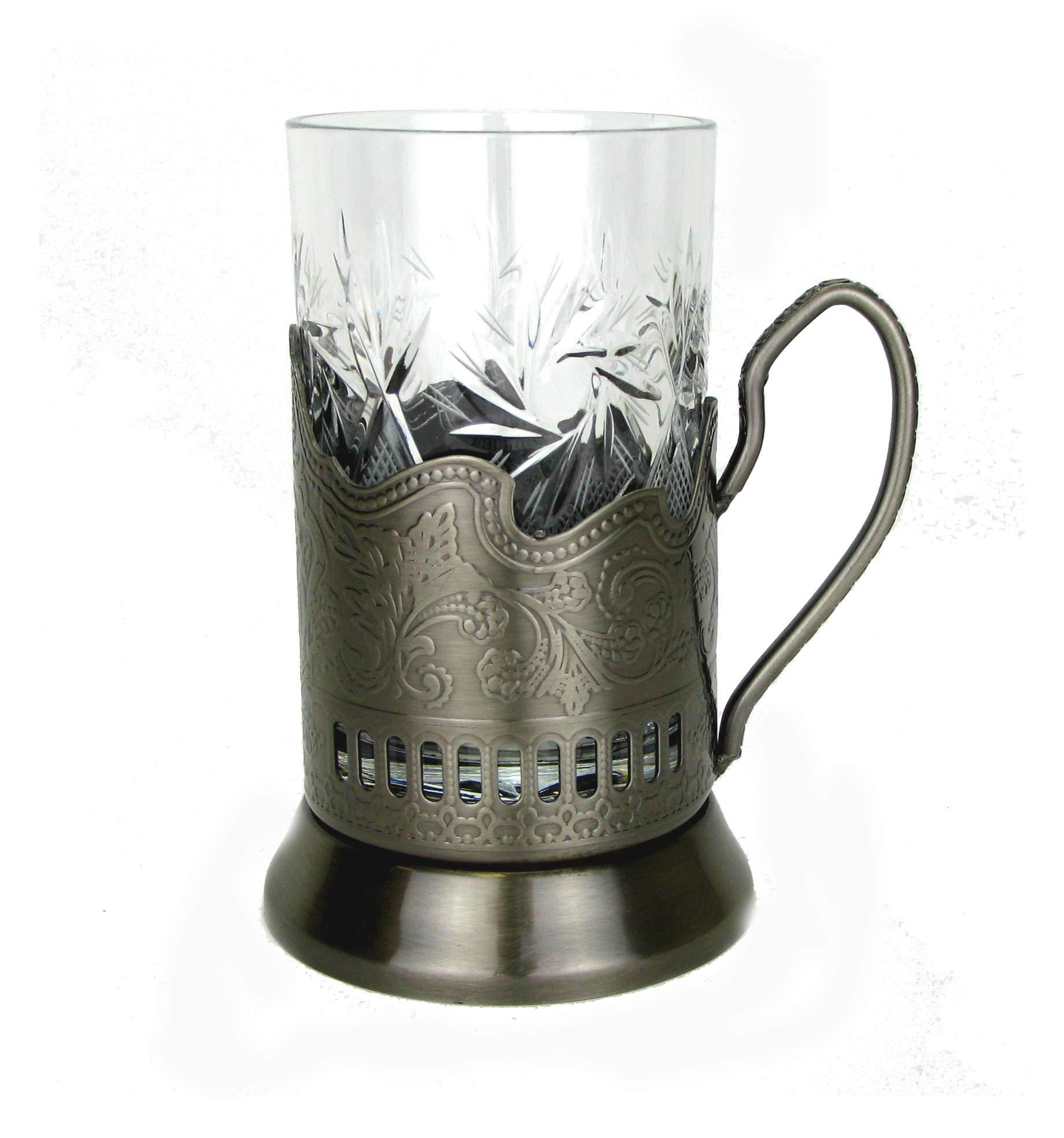 1 Russian Crystal Hot Tea Glass 8.5 Oz & 1 Metal Glass Holder Podstakannik by WORLD GIFTS