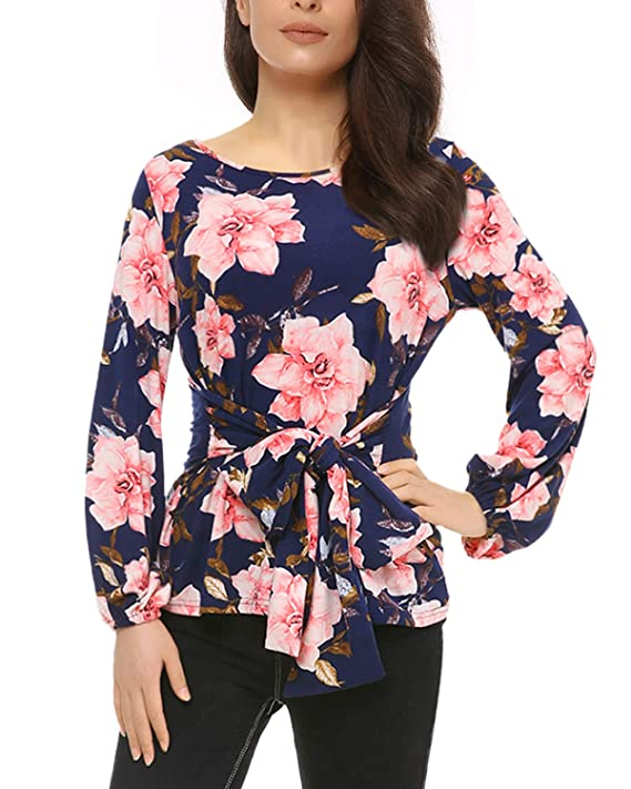 Mixfeer Womens Floral Tie Front Round Neck Long Sleeve Casual Top Blouse