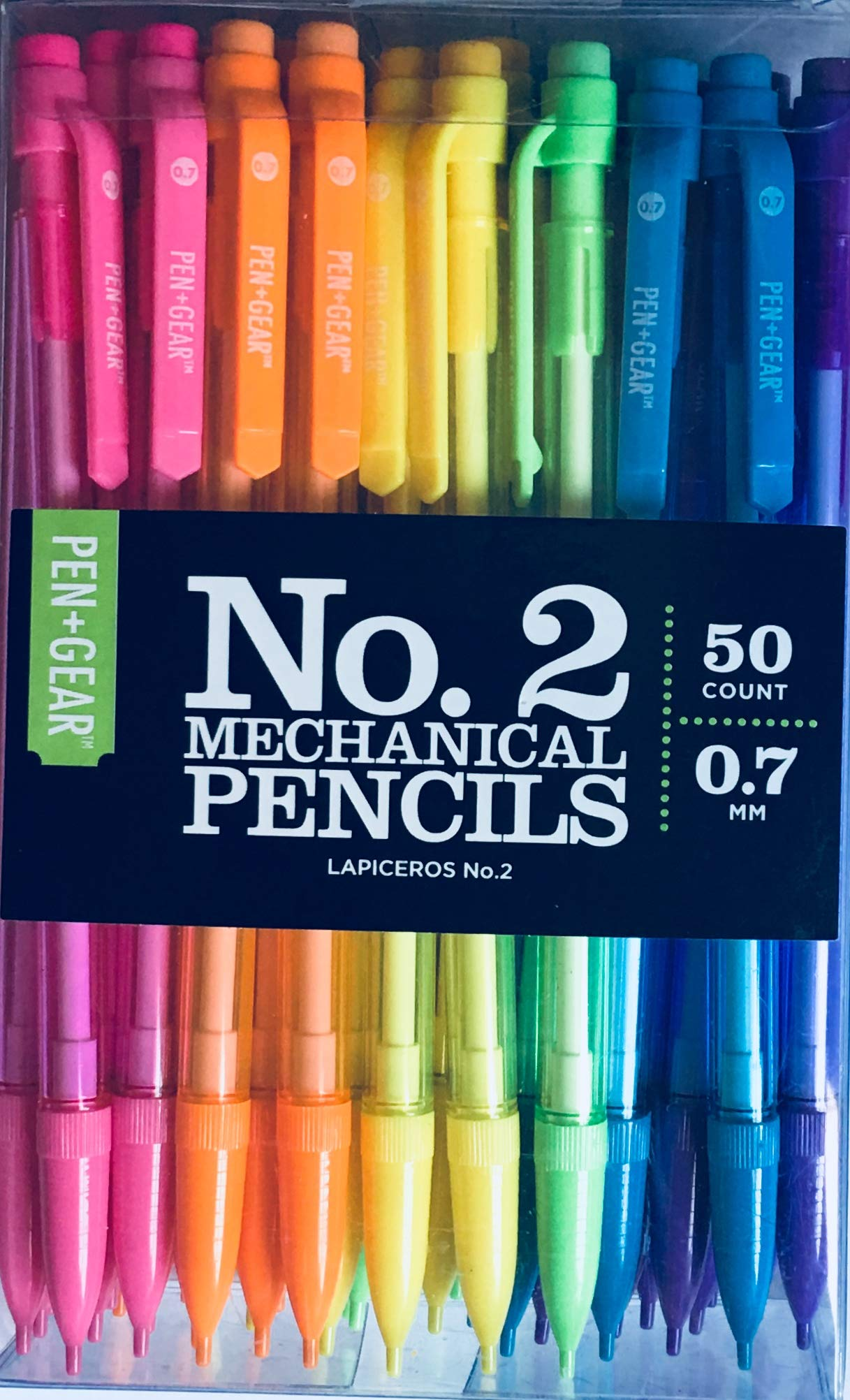 No. 2 Mechanical Pencils (Bright Multicolored, 3 Leads in Each) [50 Count] (50)