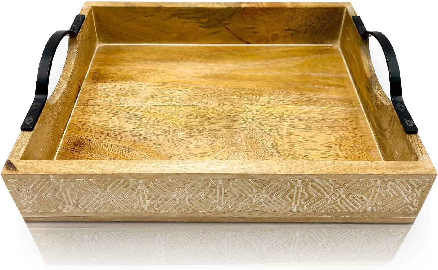 Olive + Crate KitchenPerfect Large Hand Made Decorative Wooden Serving Trays for Coffee Table with Handles, Rustic Farmhouse Style, for Eating Or Drinks On Sofa, Living Room, Kitchen Or in Bed…