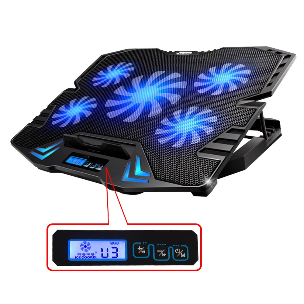 TopMate TM-3 12-15.6'' Five Quite Fans LCD Screen 2500RPM Strong Wind Speed Designed Gaming Laptop Cooler