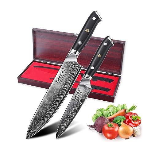 Sunnecko Kitchen Knife Damascus Knife Juego de 2 Cuchillos ...