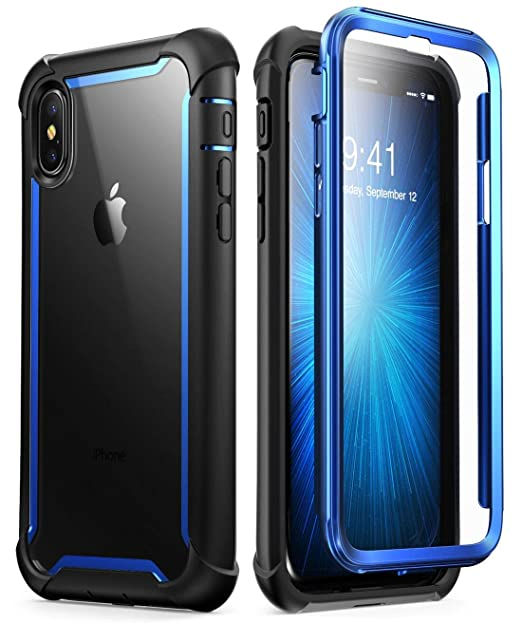best website b95d0 fef05 i-Blason Case for iPhone X 2017/ iPhone Xs 2018, [Ares] Full-Body Rugged  Clear Bumper Case with Built-in Screen Protector (Blue)