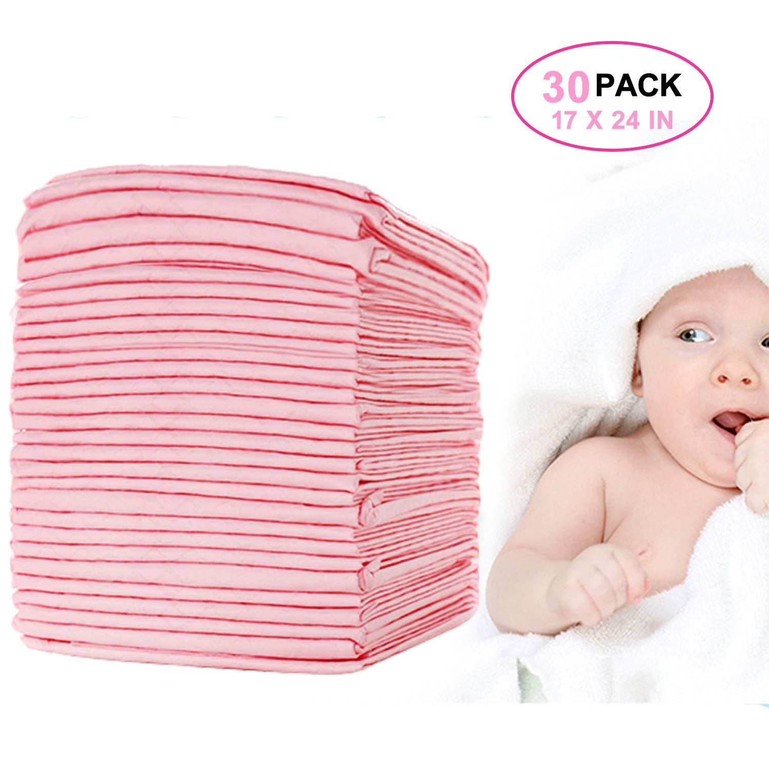 Baby Disposable Changing Pad Incontinence Pads, 30 Pack, 24×18in, Pet Training and Puppy Pads Portable Diaper Changing Table & Mat,Breathable Waterproof Absorbent Changing Pad Cover by OBloved