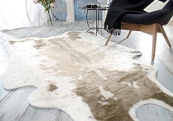 Fellteppich Webpelzteppich Teppich Kuhfell Hellbraun Amazon De