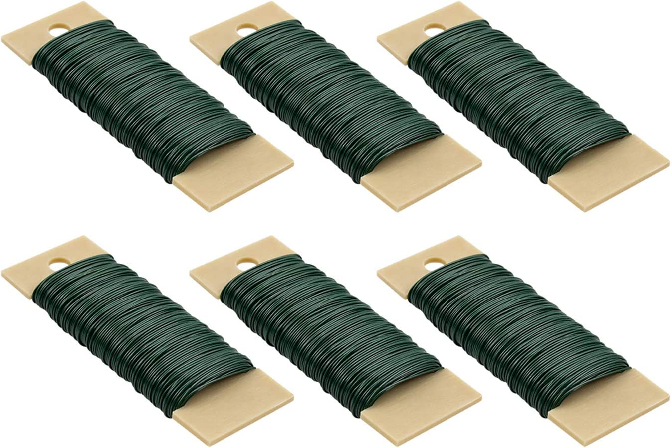 Foraineam 6-Pack 228 Yards 22 Gauge Green Floral Wire Flexible Paddle Wire for Crafts, Wreaths, Garland and Floral Arrangements